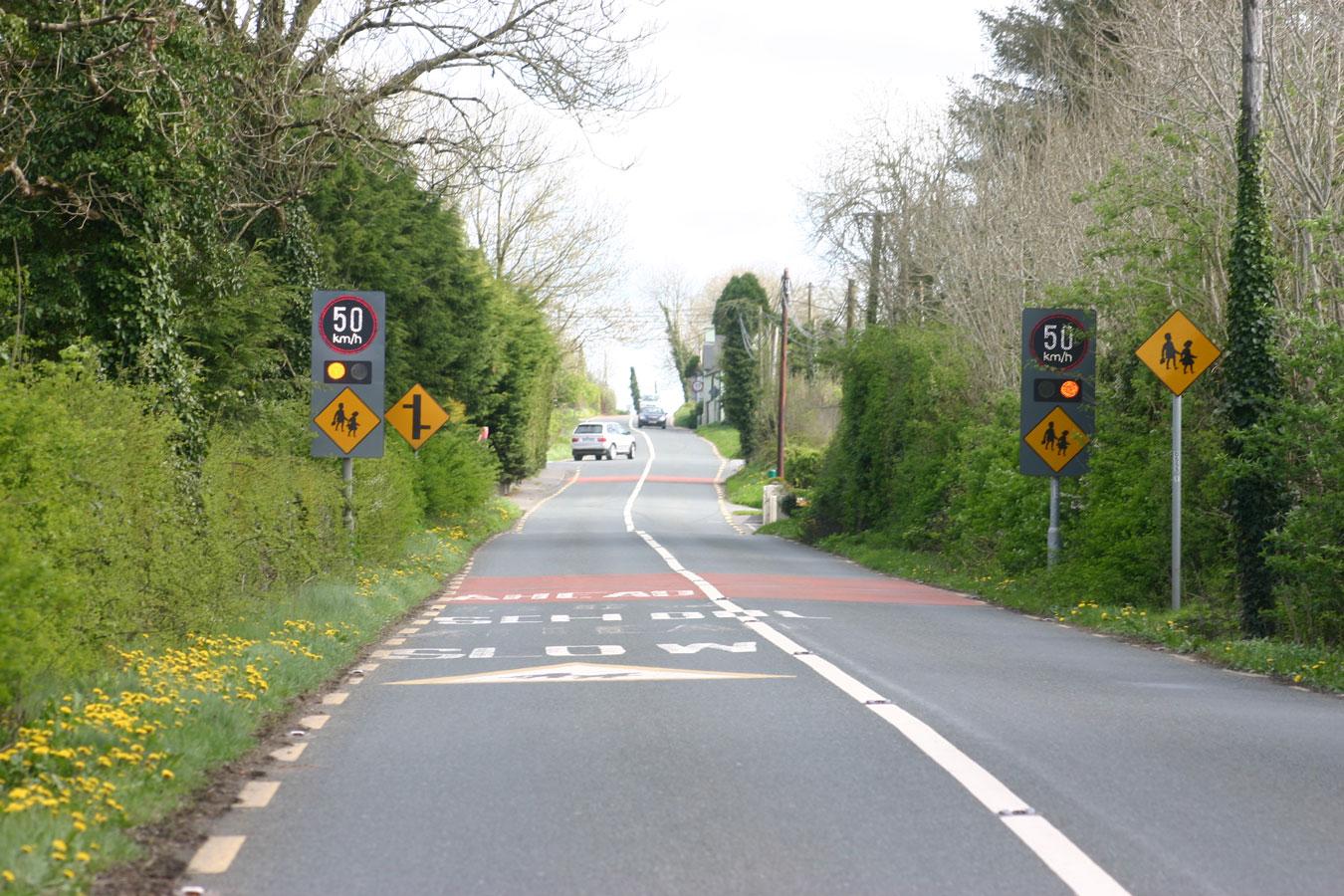Belisha beacons on approach to school