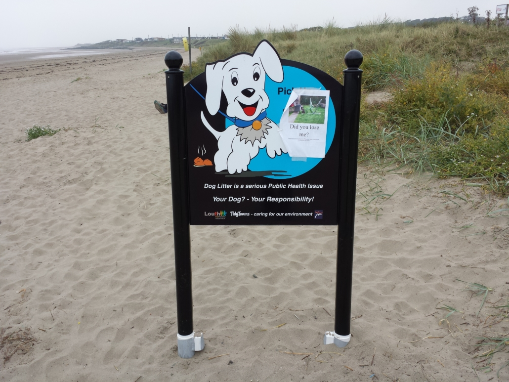 Tidy Towns signage on County Louth beach