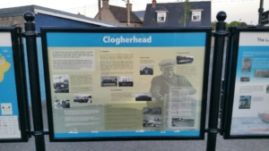 Street furniture / signage containing local historical printed information